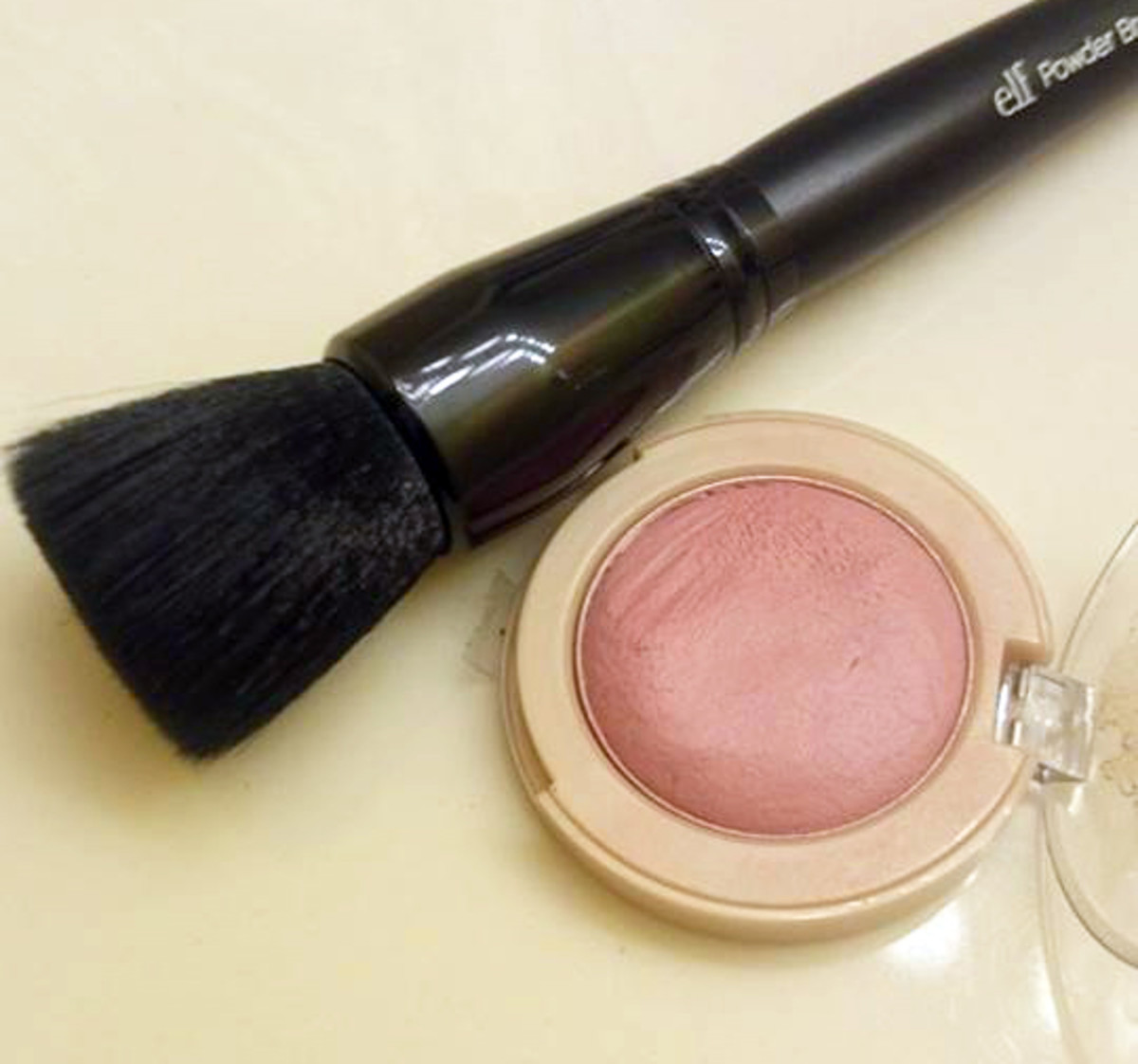 Use a synthetic brush to blend out any cream blushes such as Maybelline's Bouncy blushes.