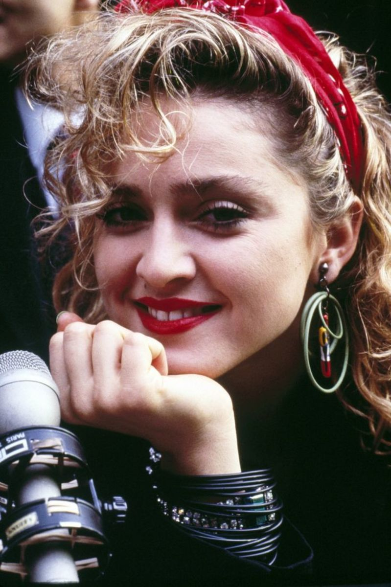 Madonna. Men and women displayed similar styles in the '80s.