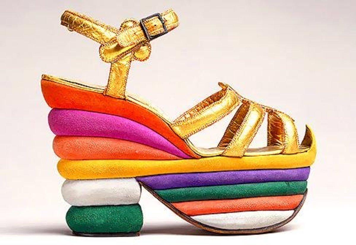 Rainbow suede platform sandals designed for Judy Garland, 1938.