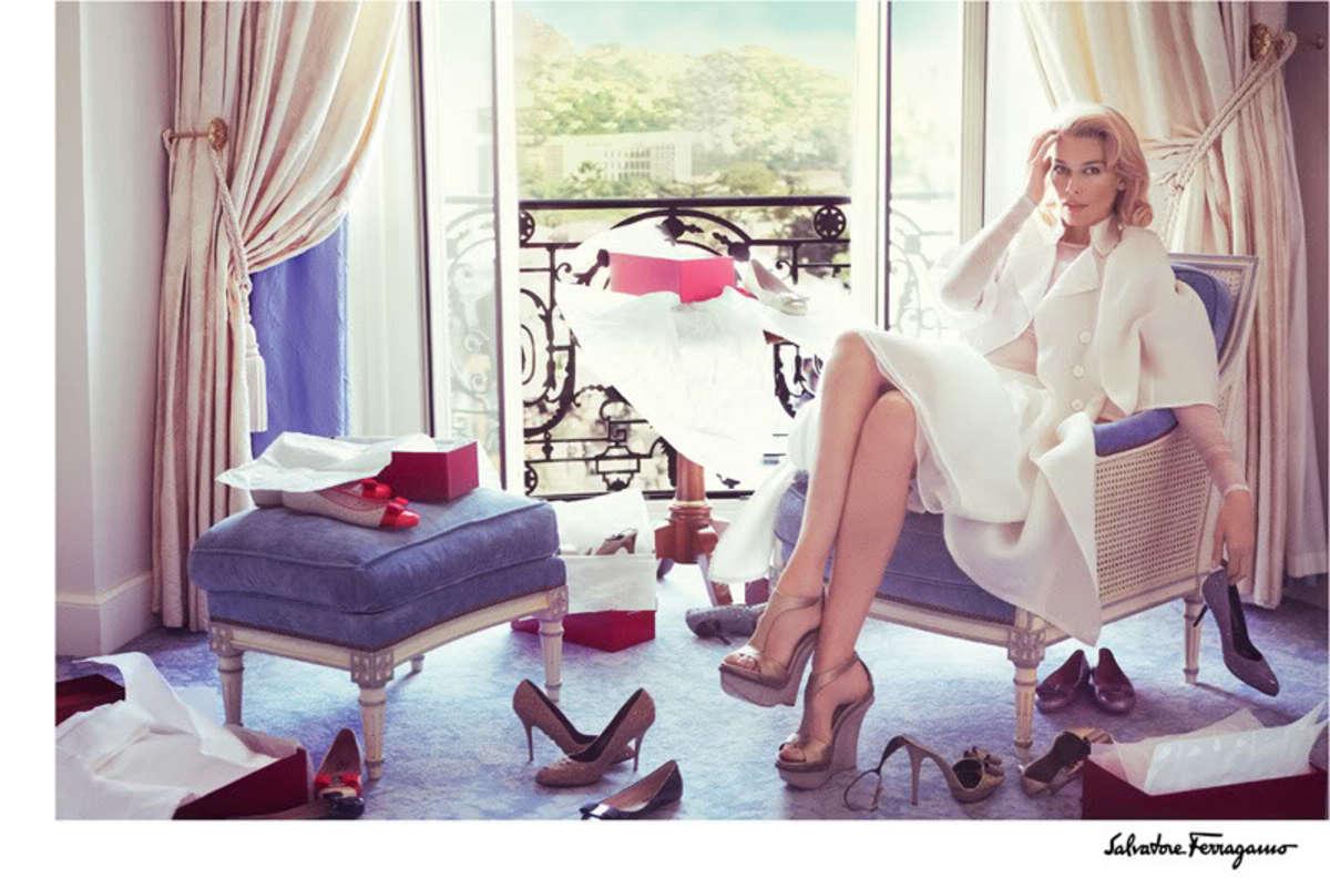 2010 Ferragamo ad campaign featuring Claudia Schiffer.