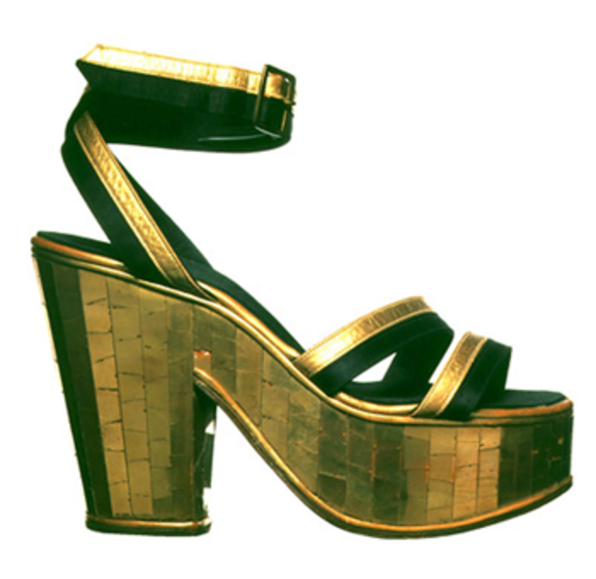 1938 shoe designed for Carmen Miranda made from gilded glass mosaic cork heel with gold kid and black silk upper.