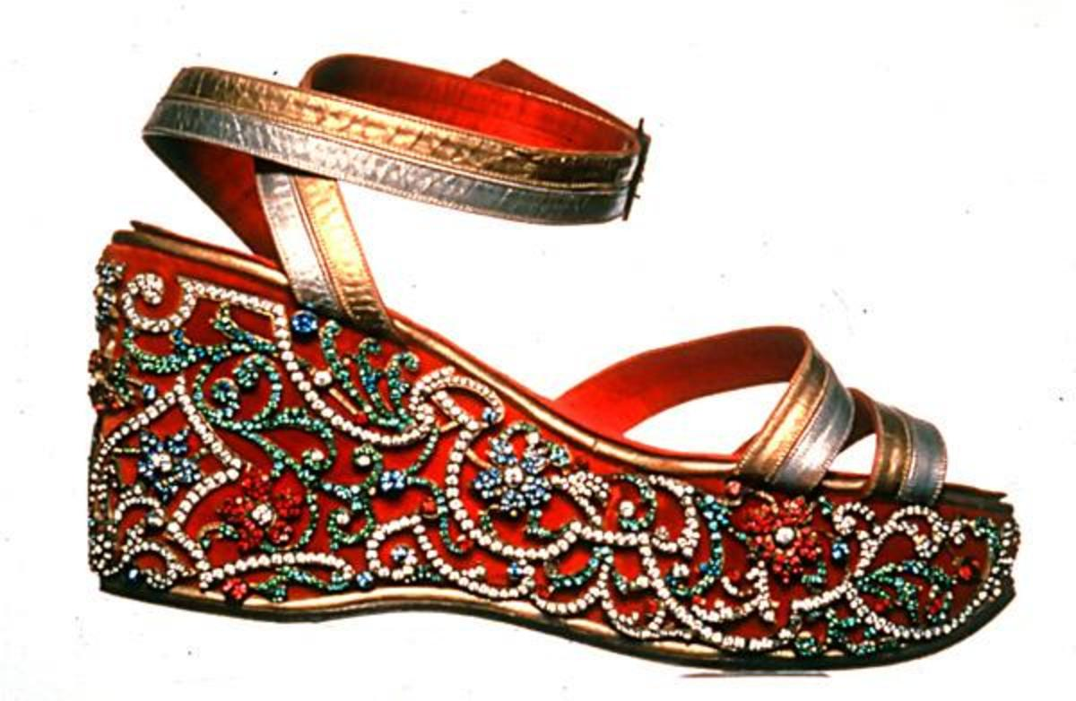 1938 Maharani wedge sandal made for Indira Devi, Maharani of Cooch Behar.