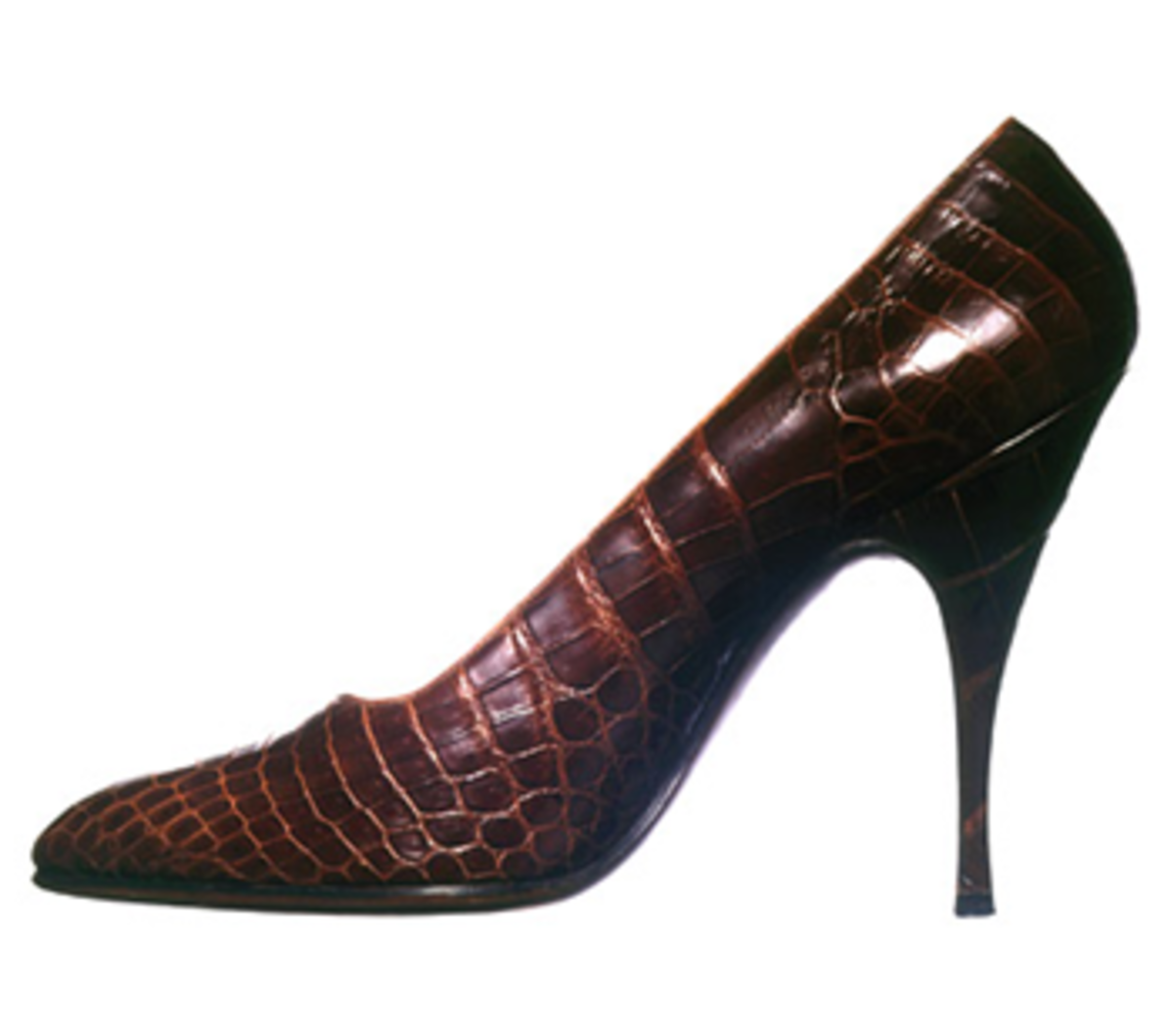 Ferragamo invented the stiletto heel, such as this pair of crocodile stilettos designed for Marilyn Monroe.