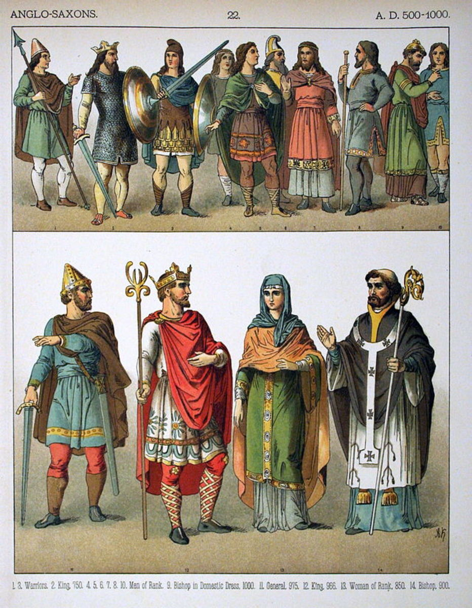 "Anglo Saxons circa 500–1000 AD. From the 1882 book ""Costumes of All Nations."""