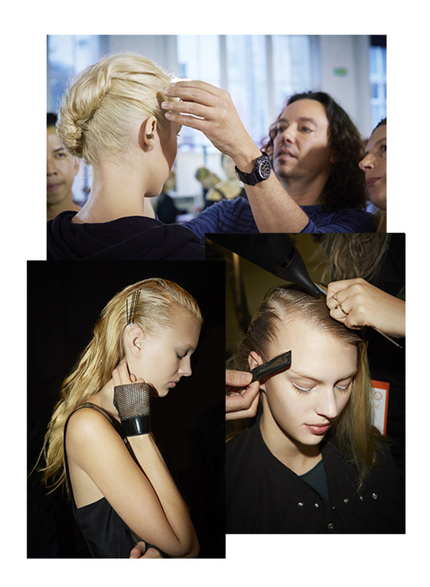 Backstage at 2014 Spring/Summer Paris Fashion Week