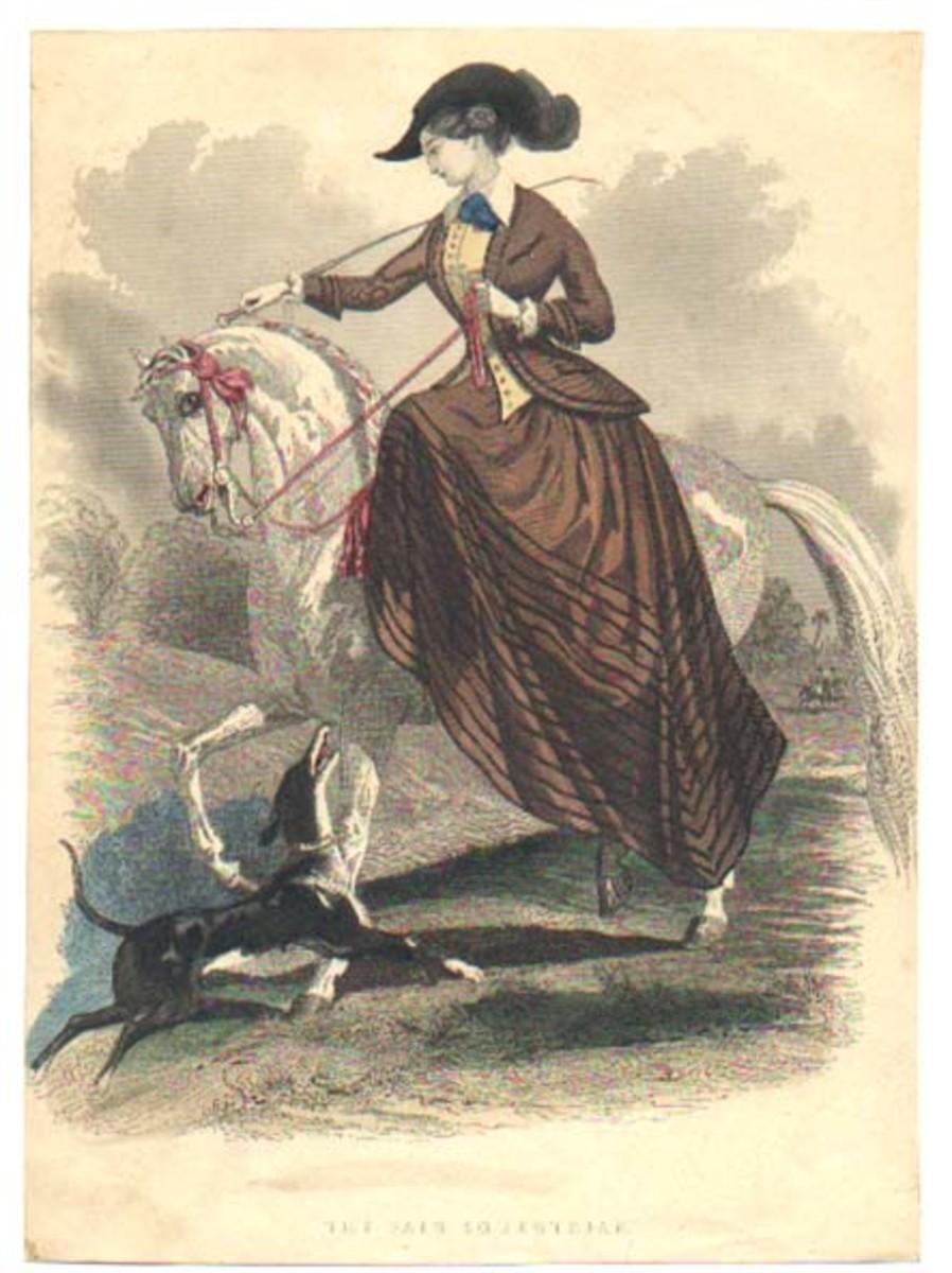 Victorian riding habit circa 1847—in those days, women rode side saddle.