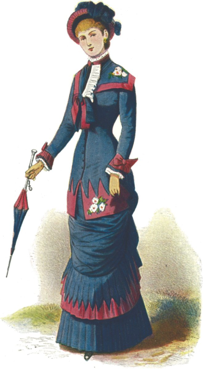 Narrow skirts made walking difficult (1880s fashion plate).