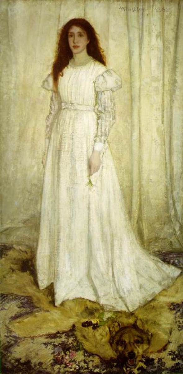 "Woman dressed in the manner of the Aesthetics; ""Symphony in White,"" 1862 painting by James Abbott Whistler"