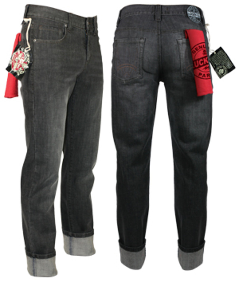 Men's White Wash Black Denim Pants at lucky13apparel.com