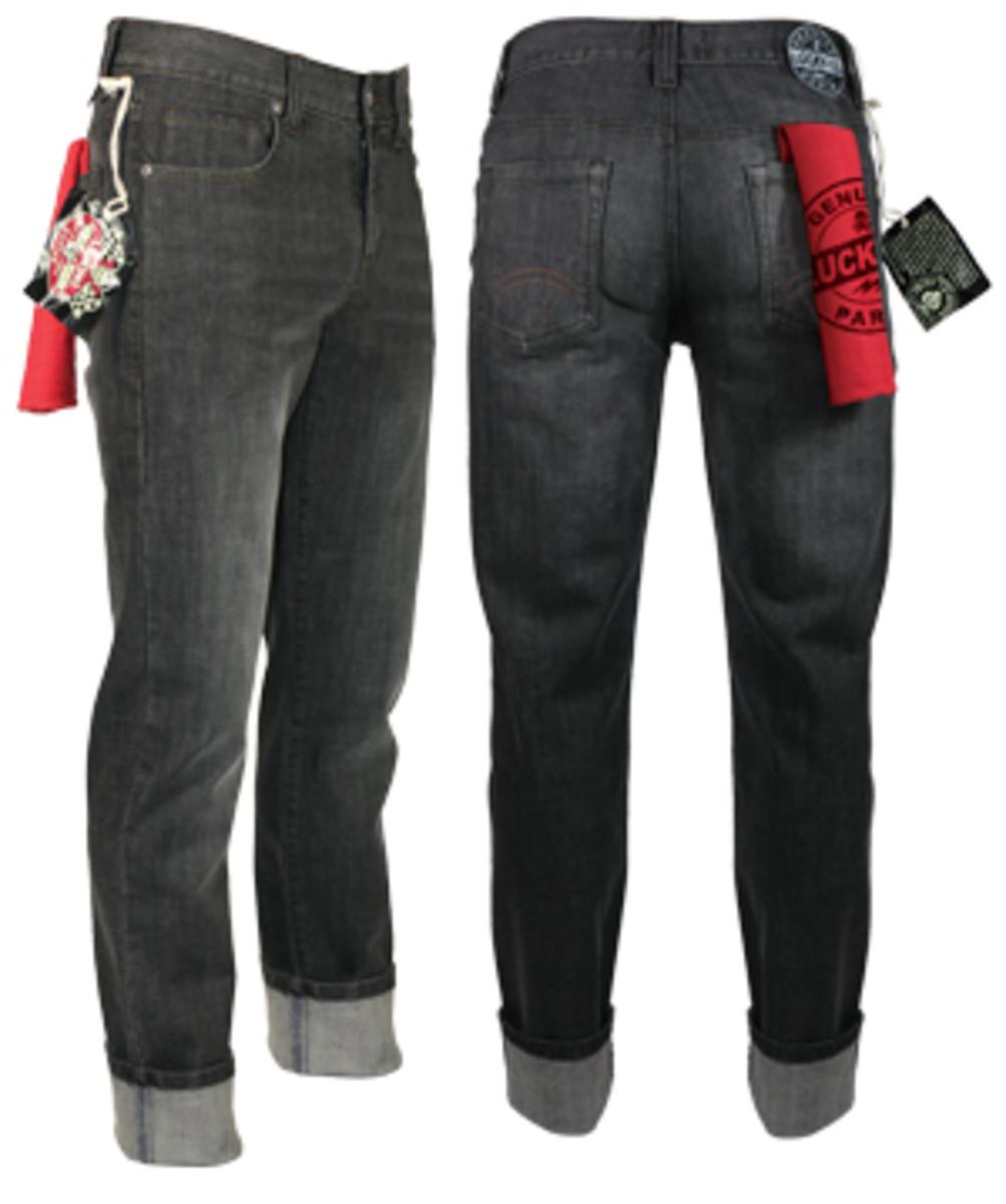 Men's White Wash Black Denim Pants at lucky13apparel.com