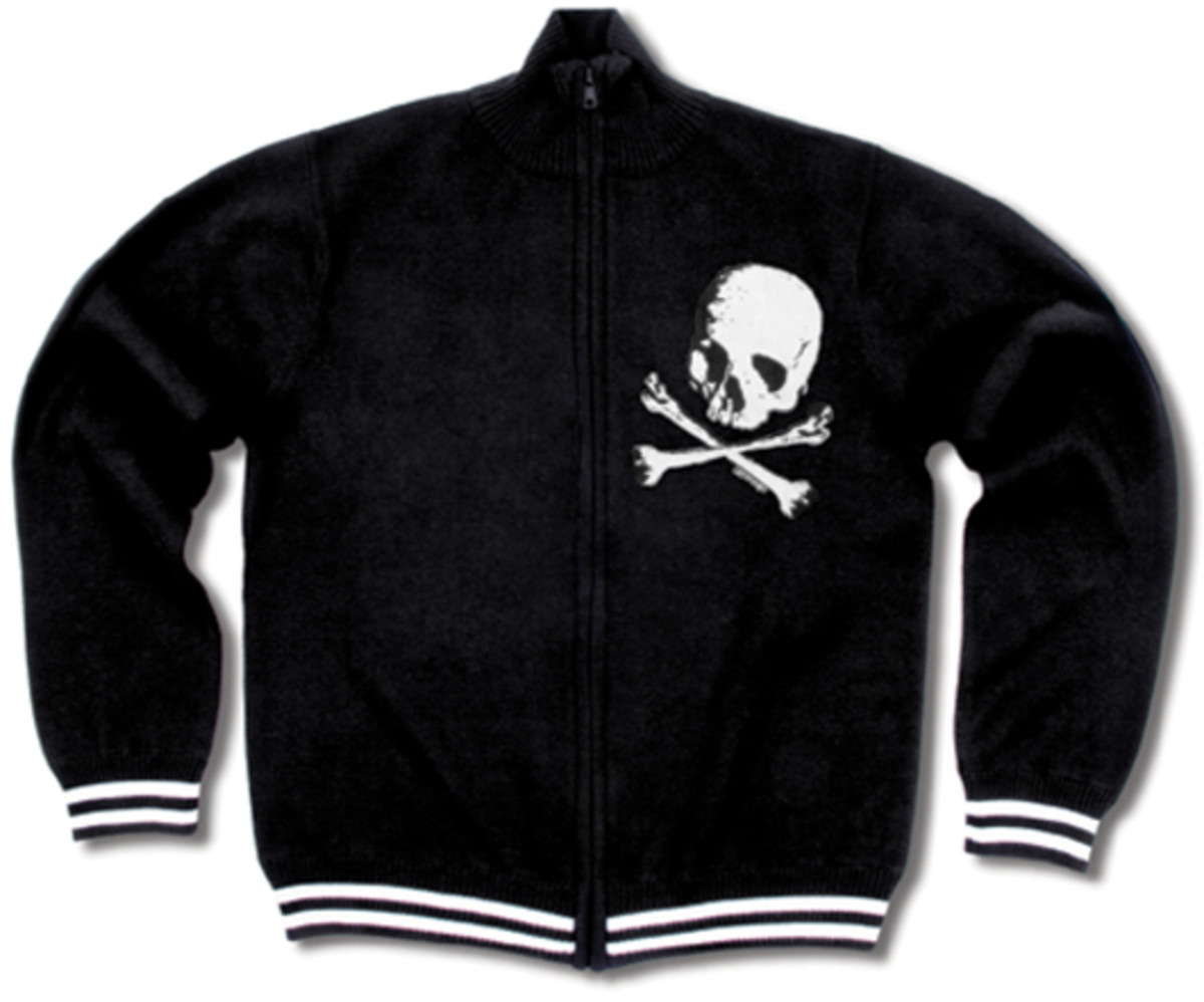Liquorbrand Men's Skull Zip Sweater at greasegasandglory.com.