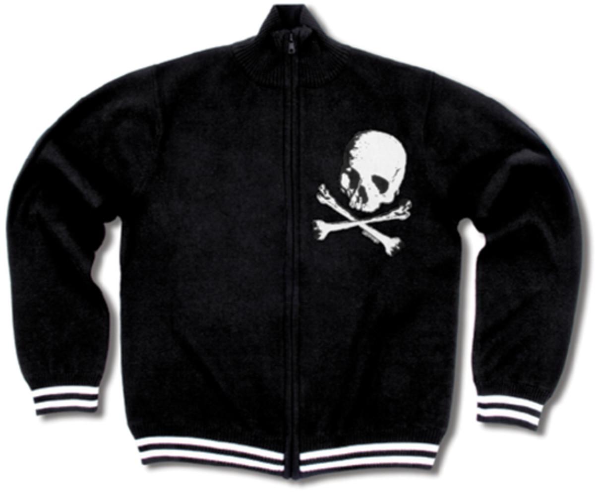 Liquorbrand Men's Skull Zip Sweater at greasegasandglory.com.