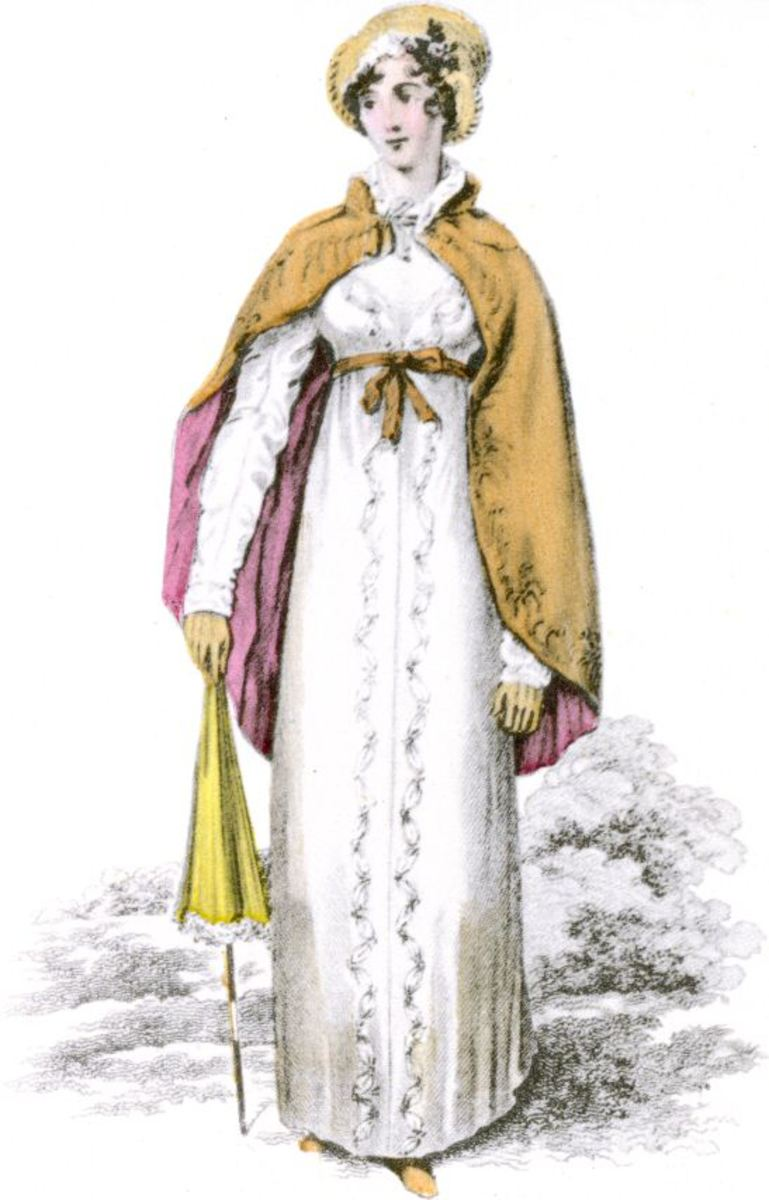 Regency short cloak over long sleeved dress - 1813