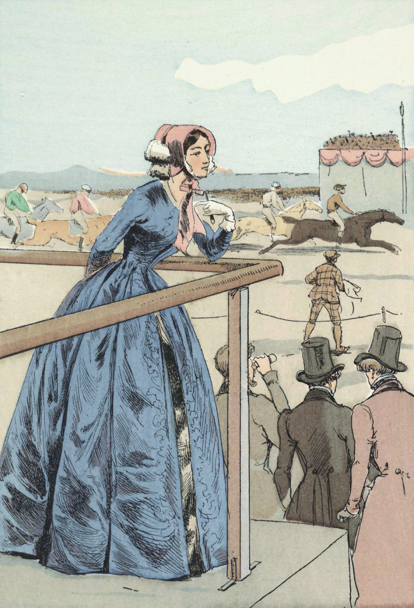 Art by Francois Coubin, published in Ocatve Uzanne to illustrate women's fashions.