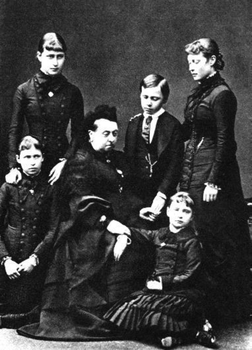 Queen Victoria and children in mourning dress