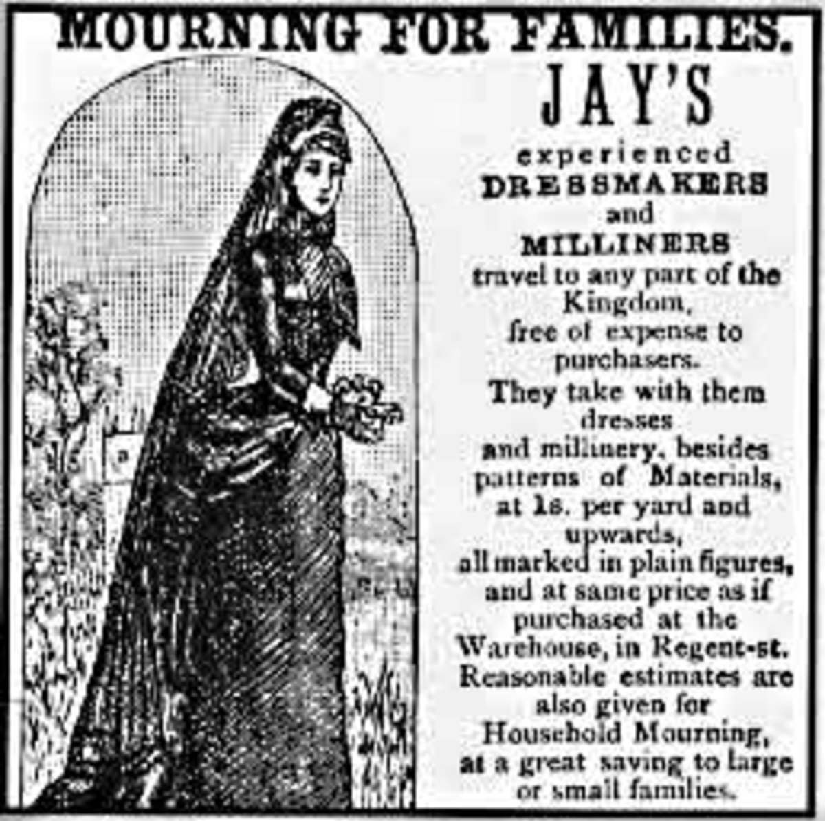 Victorian ad for mourning clothes