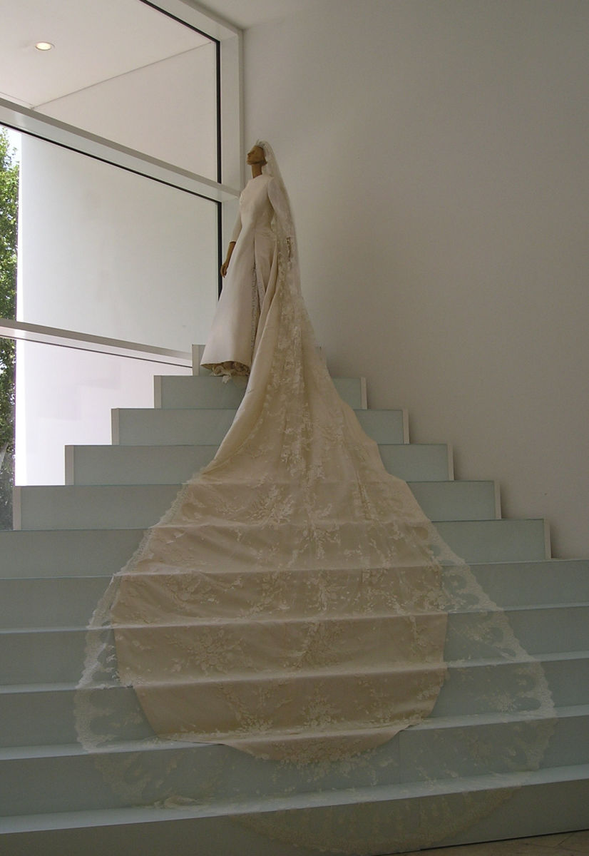 A Valentino wedding dress with a VERY long train.