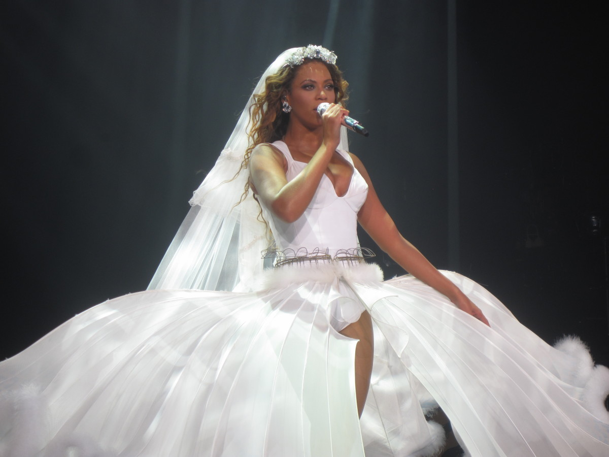 A theatrical wedding dress worn by Beyonce in a London performance