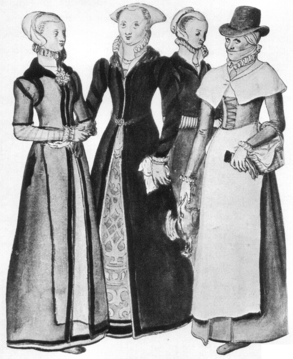 2 Londoners and a country woman: the lady on the left is wearing a coif on her head, the lady on the right is wearing a kerchief.