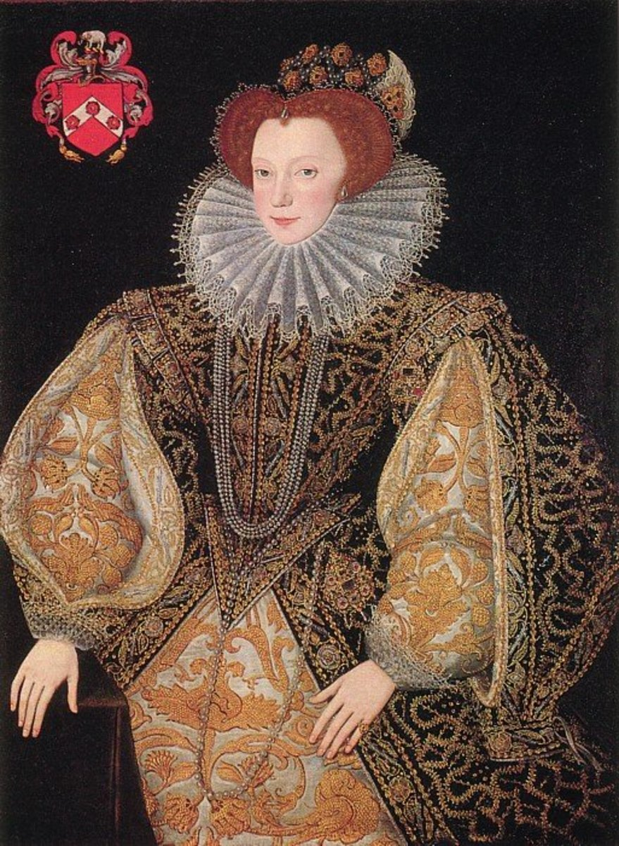 Elizabethan costume - V shaped bodice, ruff, and split skirt with matching sleeves