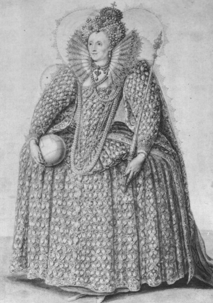 Queen Elizabeth I wearing a wheeled farthingal
