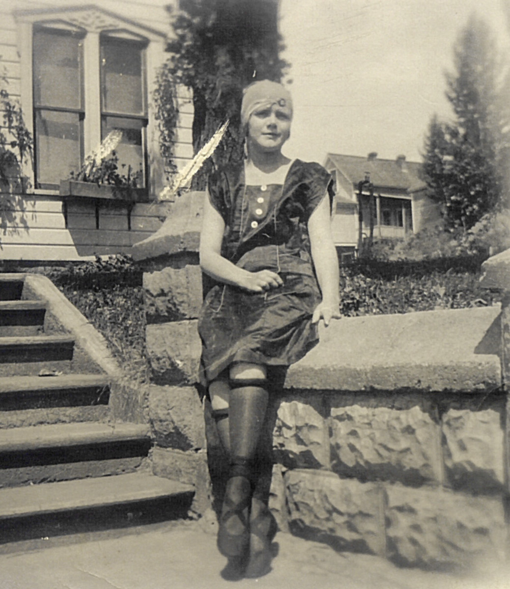 1920's Girl With  Rolled Stockings