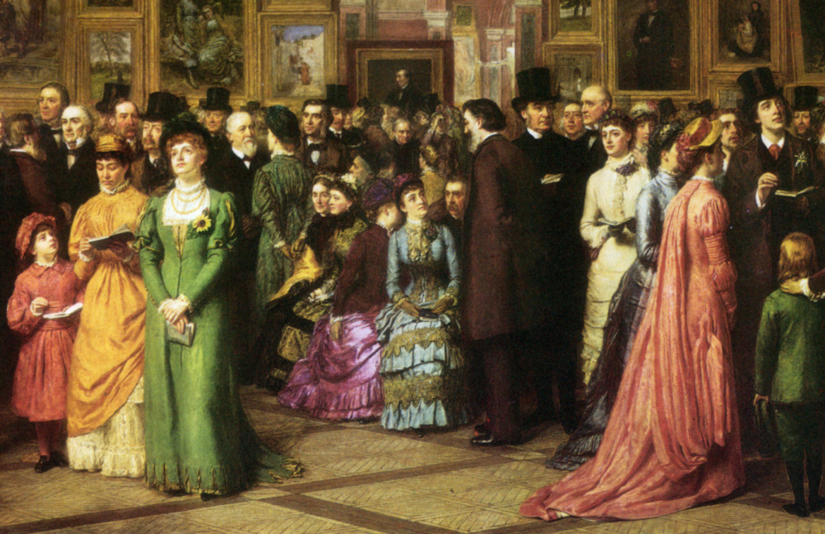 The man in the top hat at the right is Oscar Wilde. The woman in white beside him is Lillie Langtry.