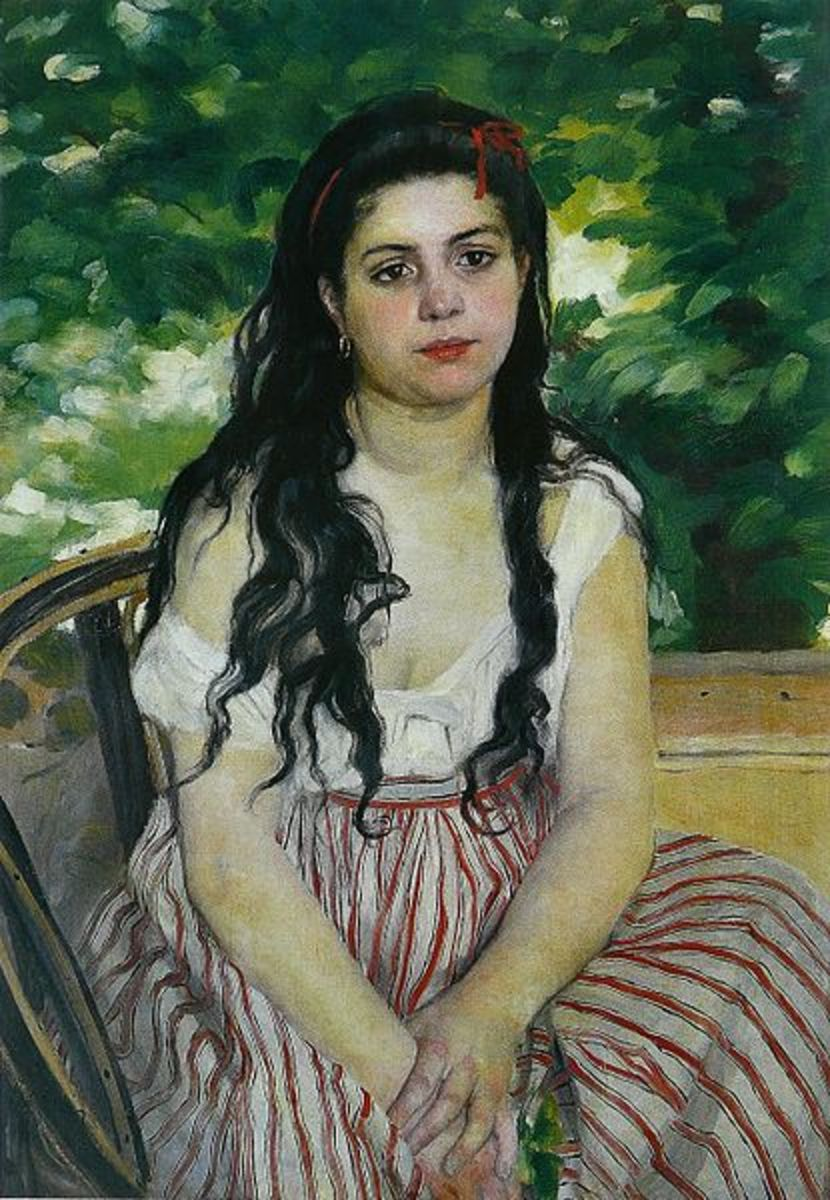 """In Summer"" By Pierre-Auguste Renoir—1868. This is a portrait of Lise Tréhot."