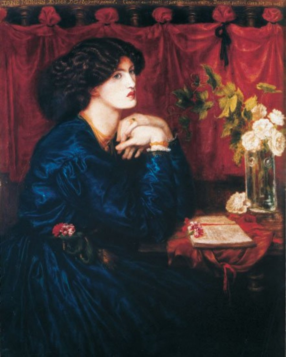 """""""The Blue Silk Dress"""" by Dante Gabriel Rossetti—1868.  Portrait of Jane Morris."""