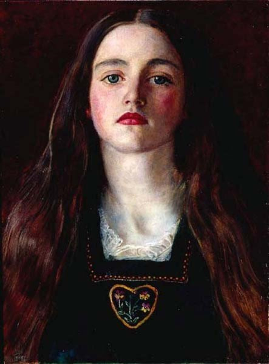 """Portrait of a Girl"" Painting by John Everett Millias—1857.  Sophie Gray is the subject of the painting."