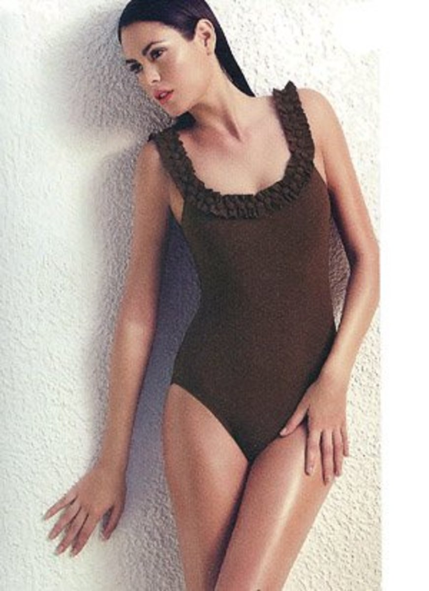 A perfect example of a one-piece that is slimming, yet accentuates your bust.