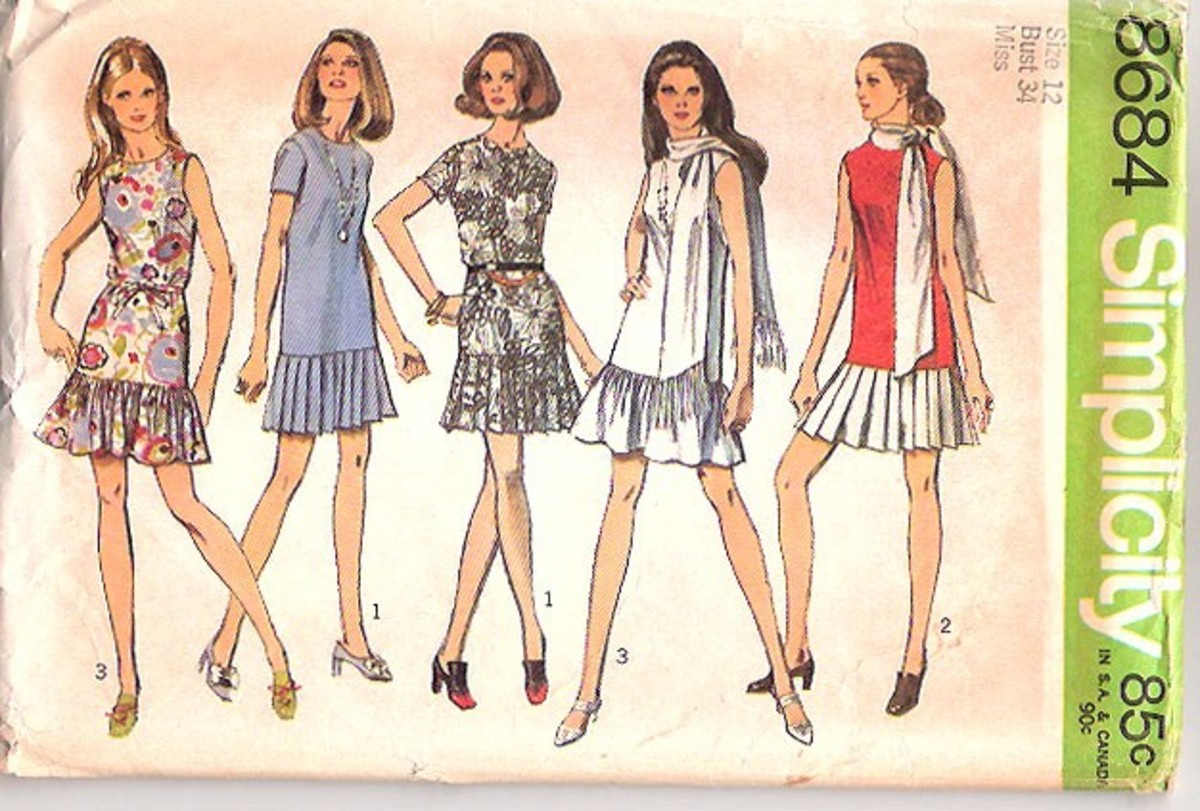 picture of a 1970s dropwaist mini skirts pattern.