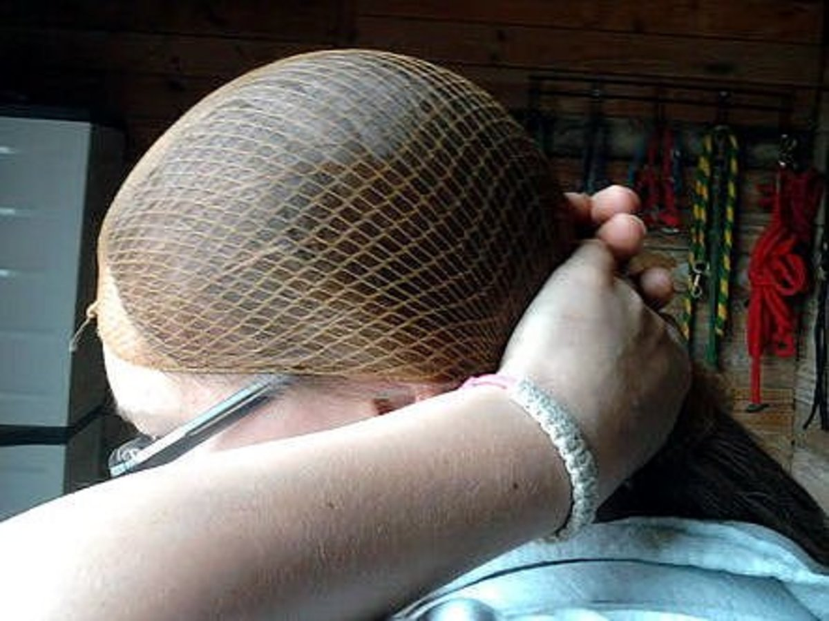Step Three: Pull the hairnet taut at the base of your neck.