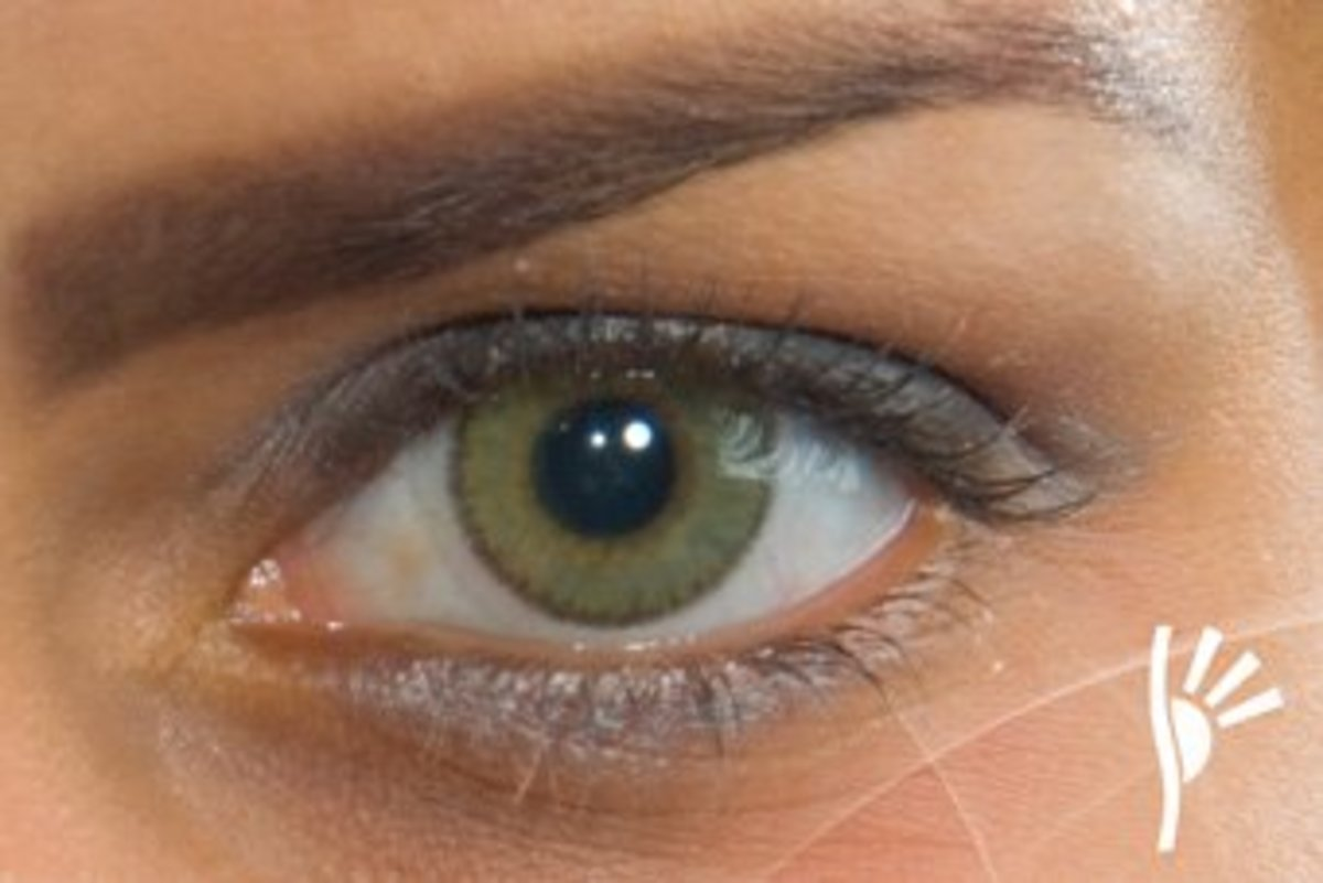 A Solotica green contact on a brown eye.