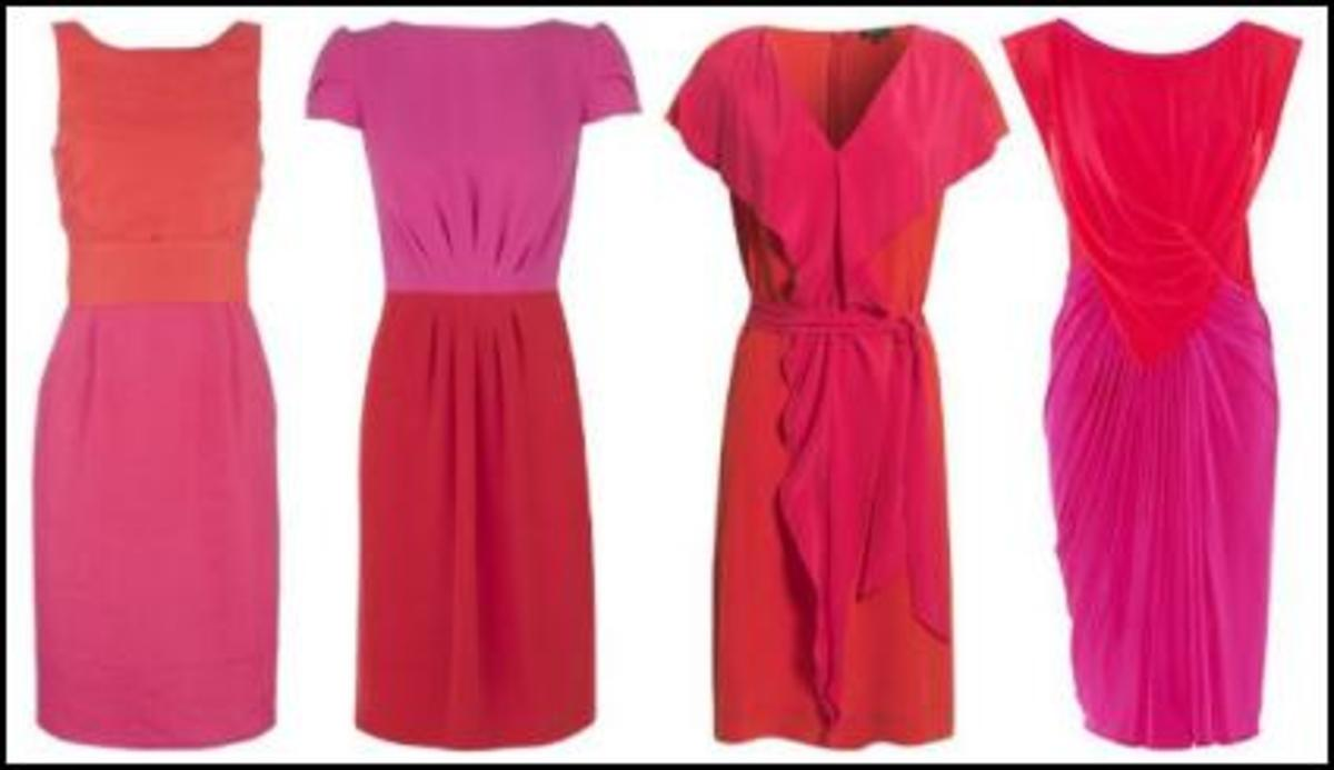 The color and style of these dresses are a welcome change from basic black.