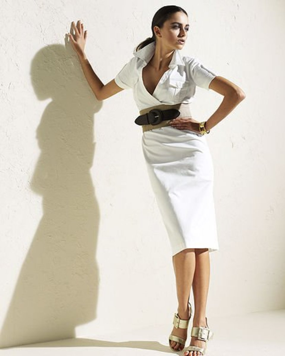 This very trendy white safari dress in stretch sateen is also offered in plus sizing up to 24W. Note the wide belt that cinches in the waist.