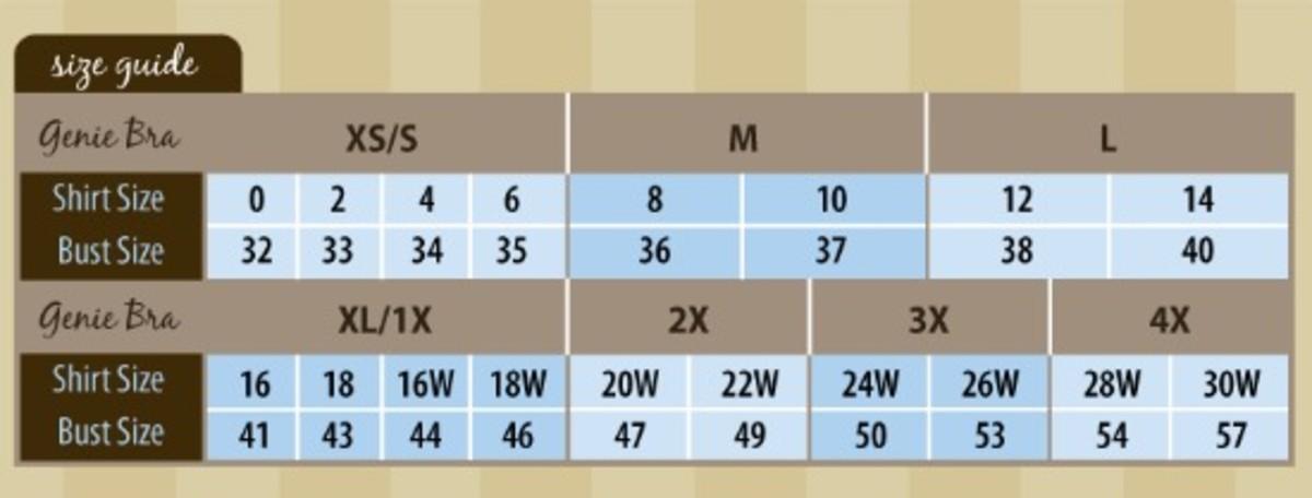 Genie Bra Size Chart
