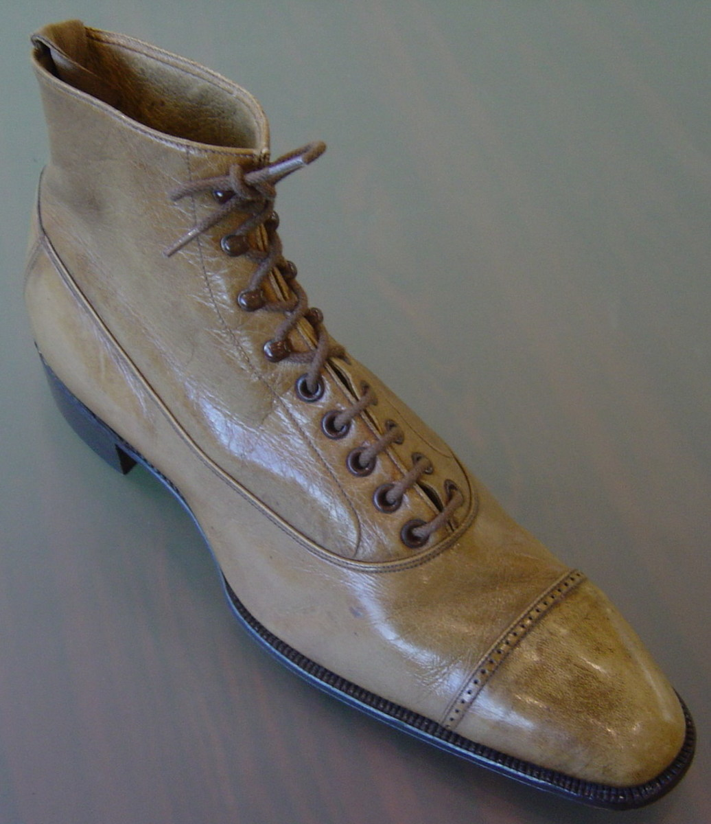 Balmoral boot circa 1940s You can see the seam that divides the upper and lower part of the boot.