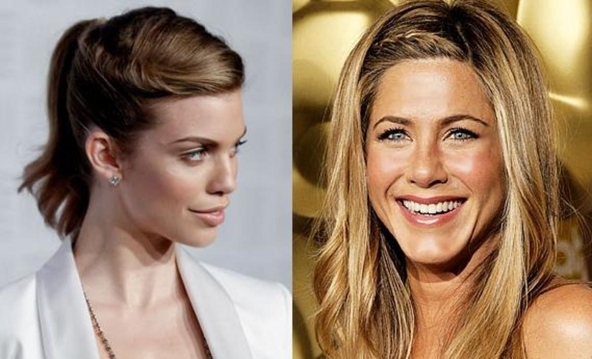 AnnaLynne McCord and Jennifer Aniston aren't letting their bangs get them down. Here are some great illustrations of a side twist and braid used to hold bangs back.