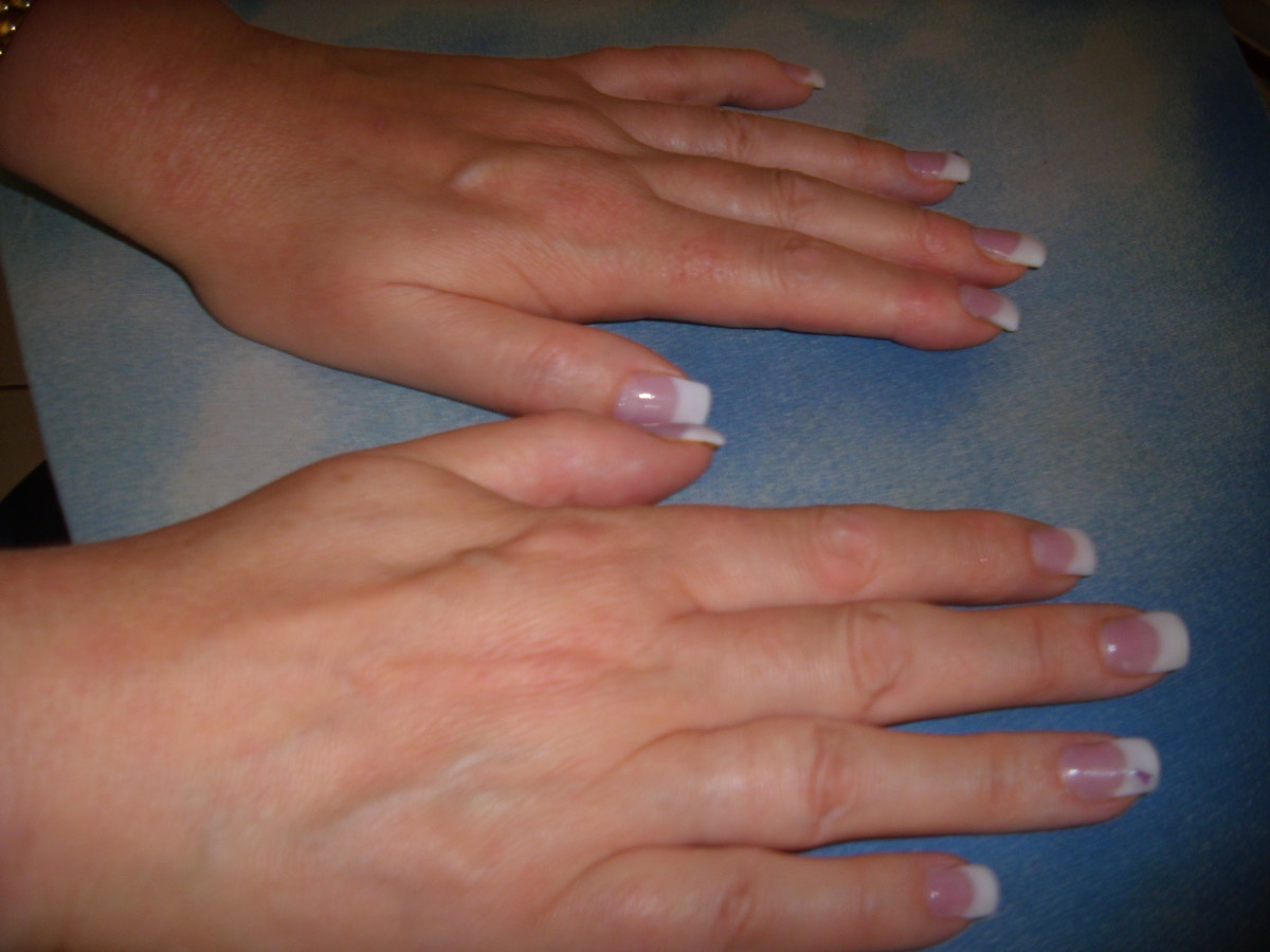 Simple manicured nails after having a paraffin wax treatment.