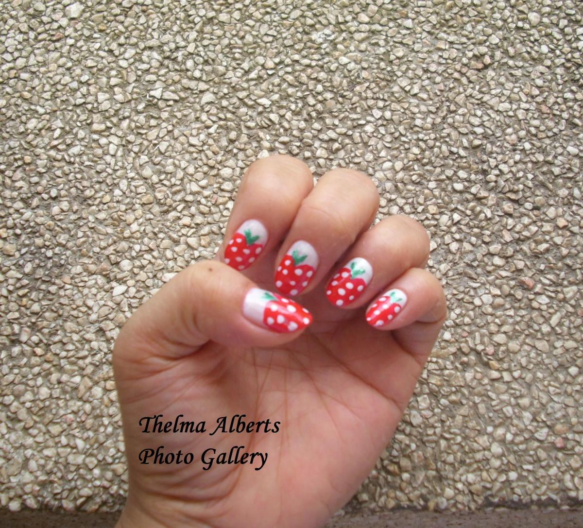 Strawberry Manicure after paraffin wax treatment.