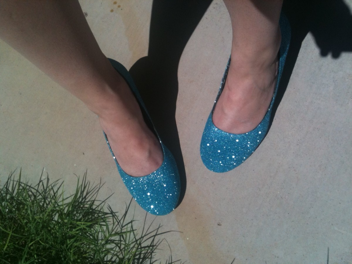 Shoes with glitter, worn to my wedding.