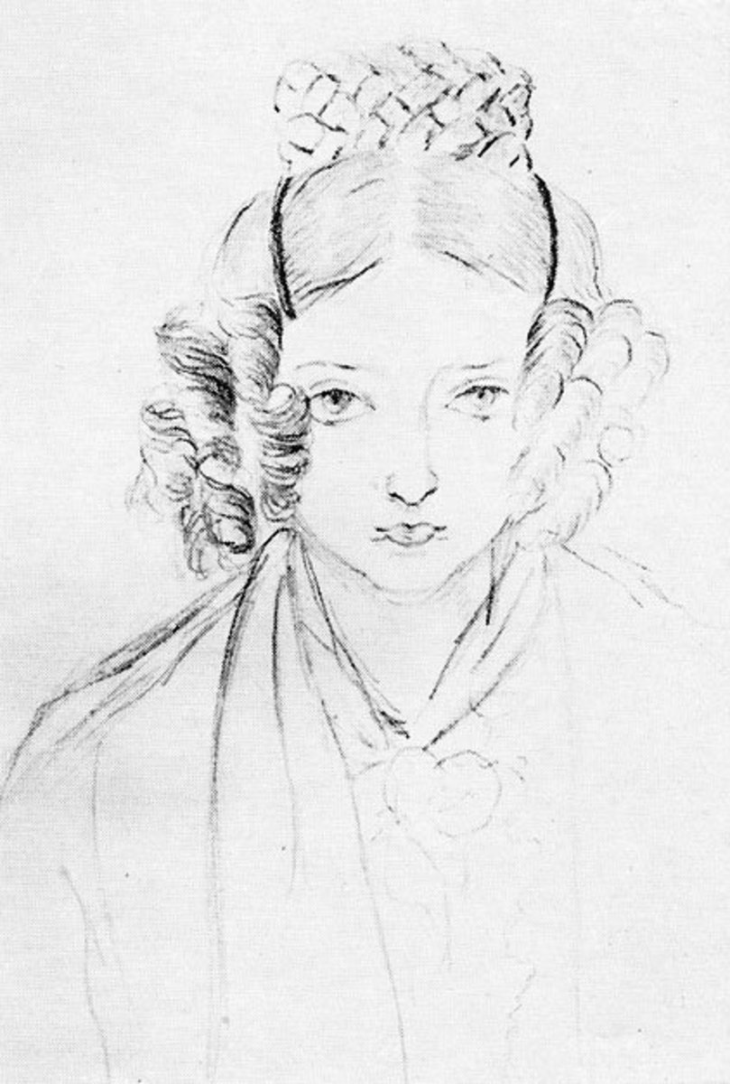 Princess Victoria of Kent, sporting curls in a self-portrait sketch from November 1845
