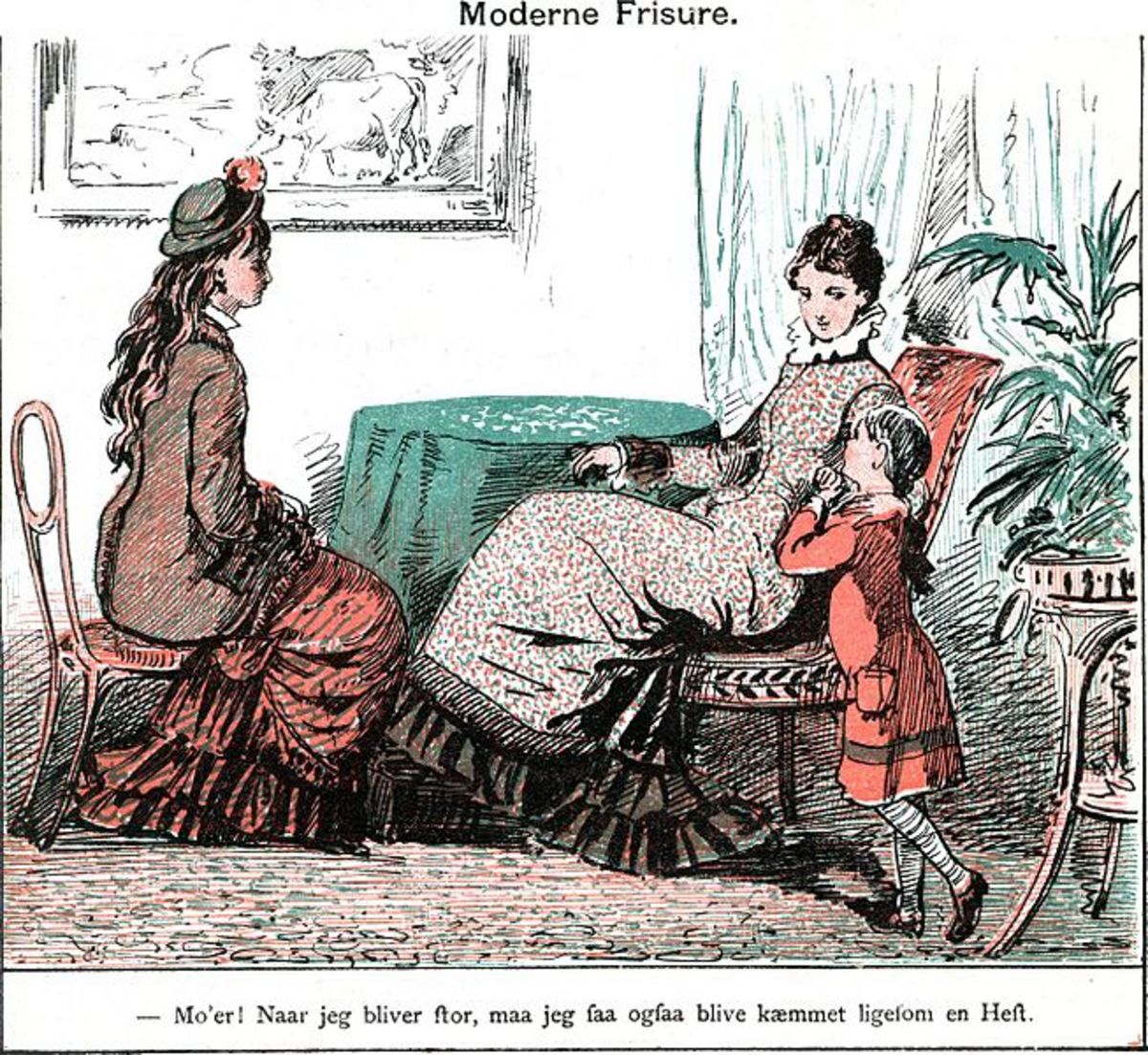 """A depiction of fashionable hairstyles in the Danish """"Punch,"""" 1879"""