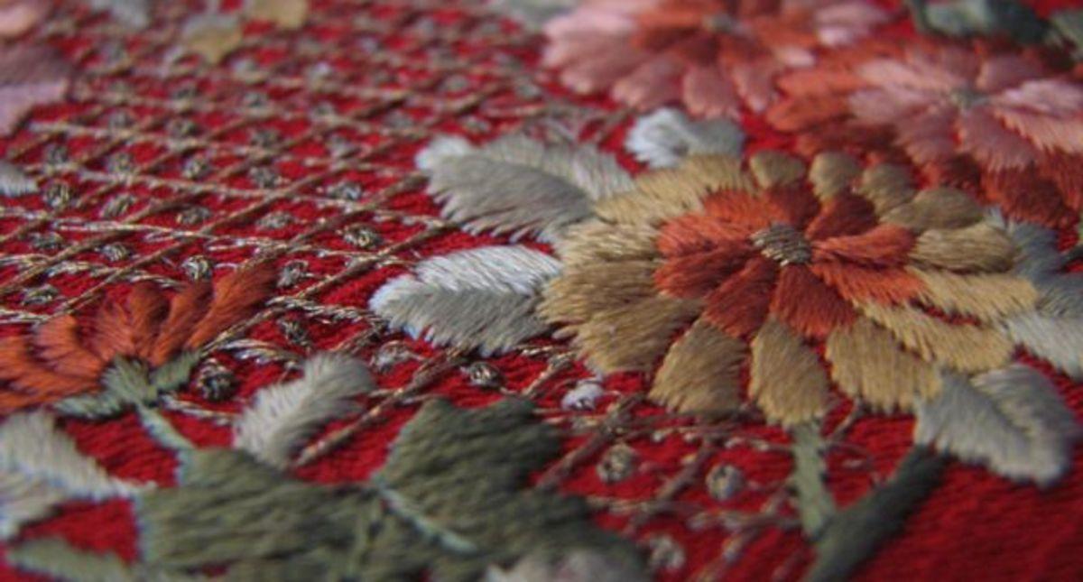 Heavily embroidered silk chirimen kimono