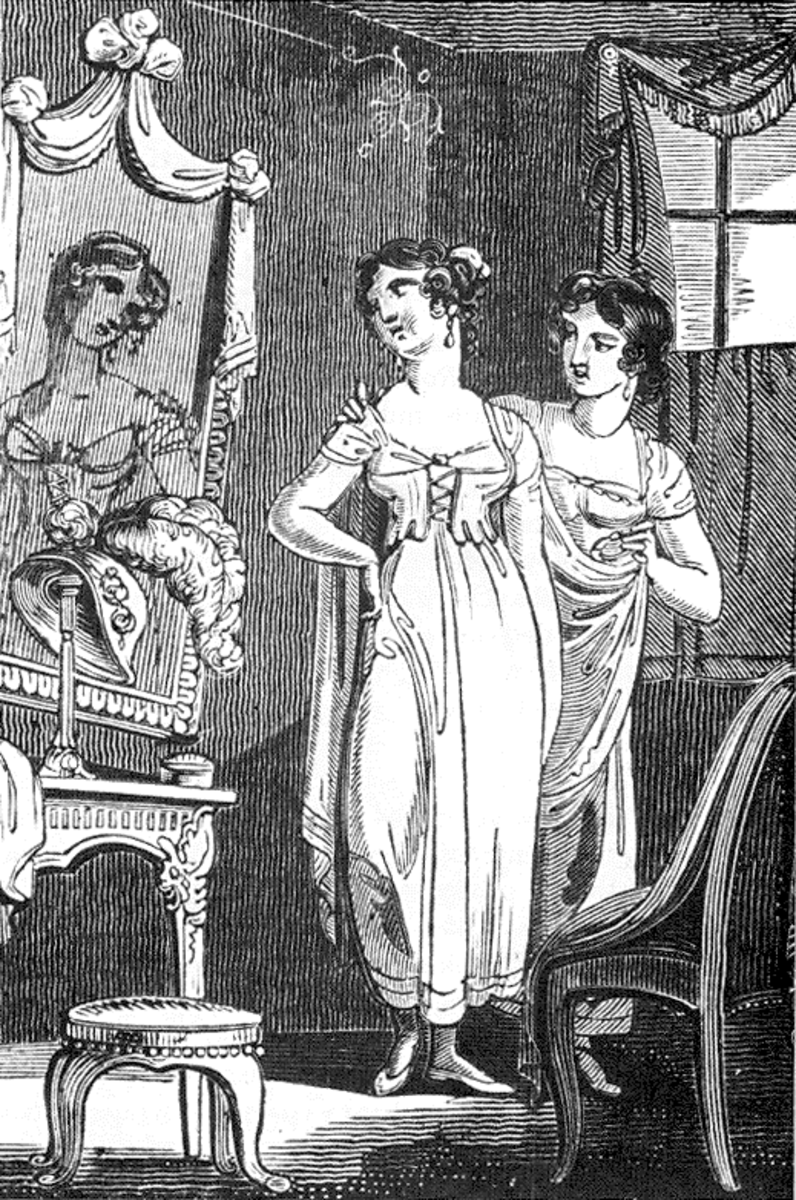 Empire dress fashion, Regency short stays circa 1810.