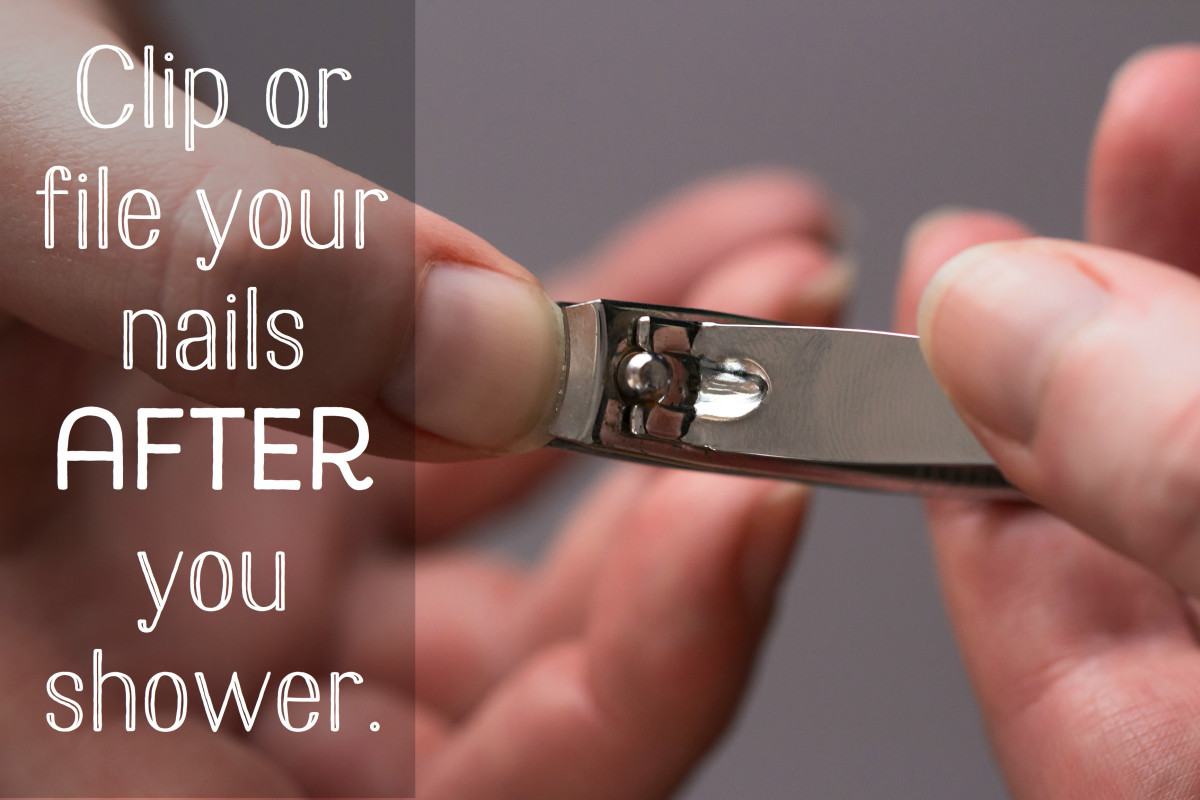 Avoid clipping your nails when they're dry. Clip them after a shower to help avoid splits.