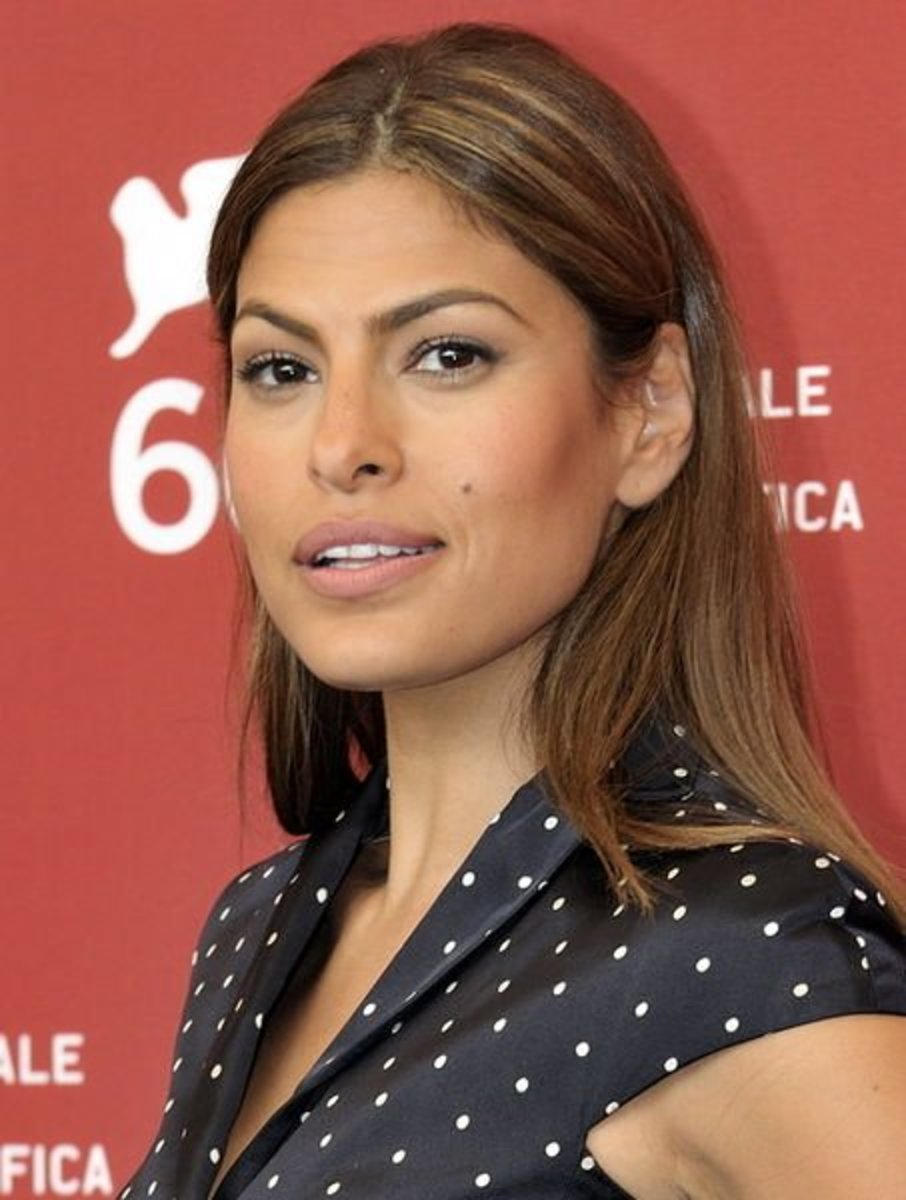 Eva Mendes with Blonde Highlights. The Best Hair Colors for Olive Skin