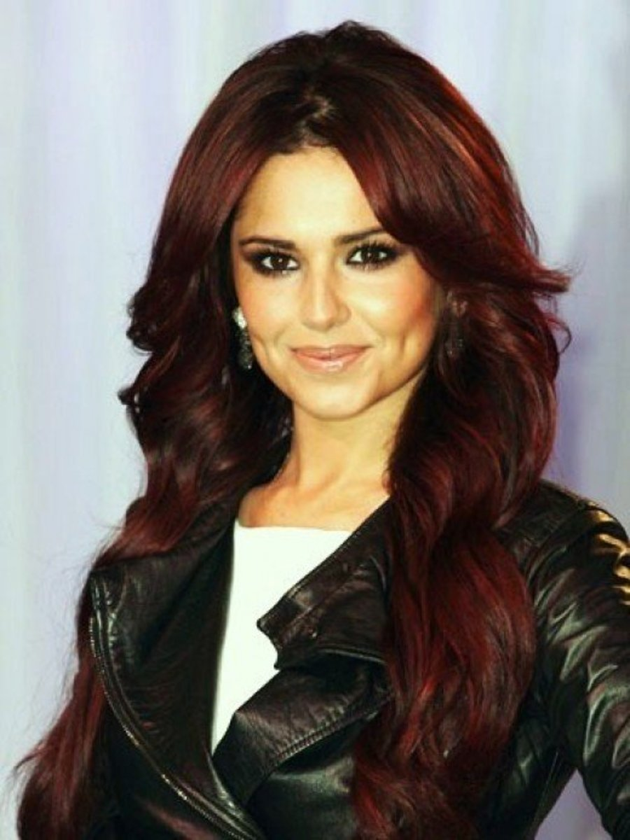 Cheryl Cole sporting a mahogany hair color.