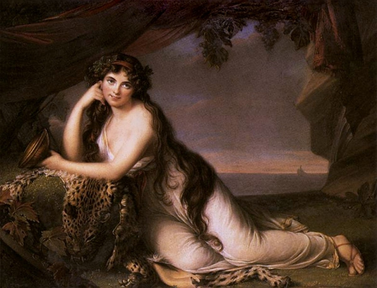Lady Hamilton, most famous for being Lord Nelson's mistress, posing as Ariadne- looking flirty!